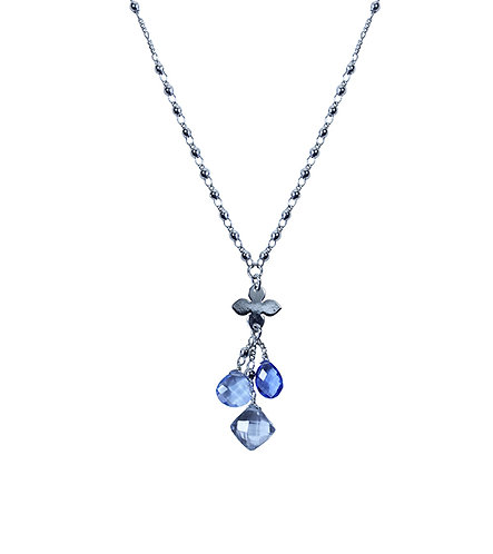 Three Stone Necklace - Kashmir Quartz