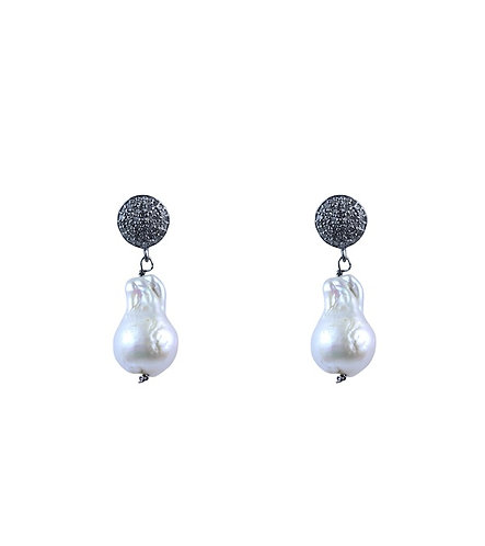 Diamond and Baroque Pearl Earrings