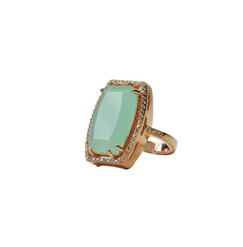 Chalcedony Halo Ring