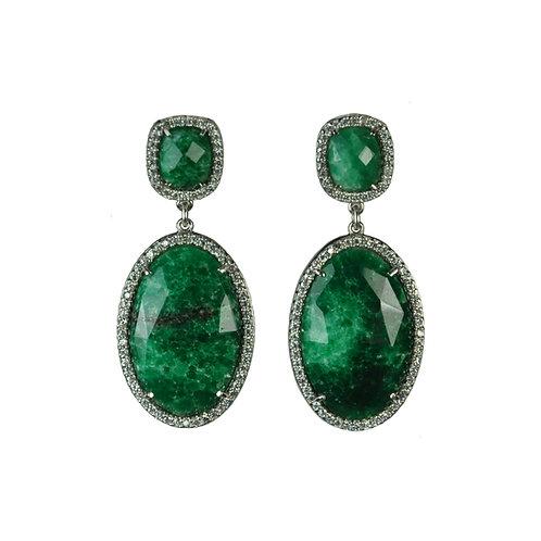 Raw Emerald Halo Earrings