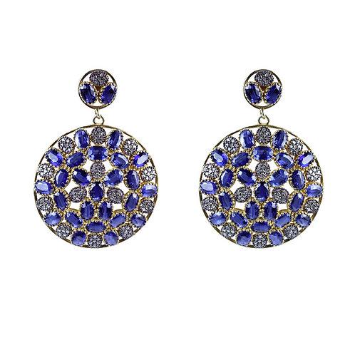 Diamond and Tanzanite Mosaic Earrings
