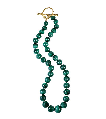 Malachite Statement Necklace with Dragon Clasp