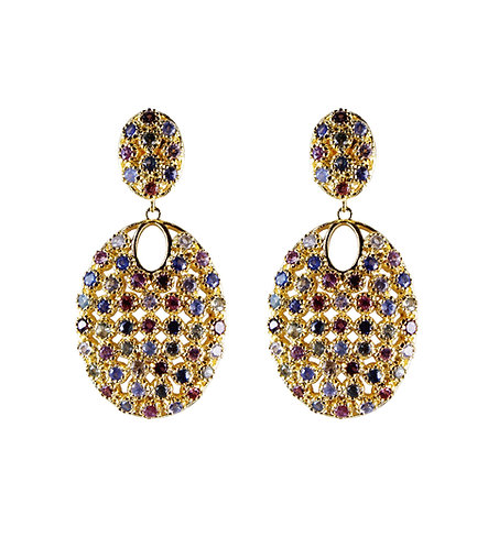 Multi-colored Sapphire Shield Earrings