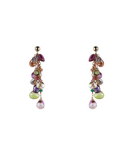 Multi Gem Tassel Earrings