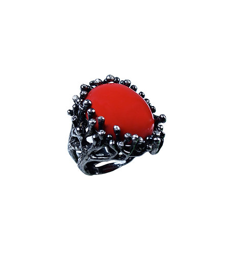 Waterflower Cocktail Ring - Red Agate