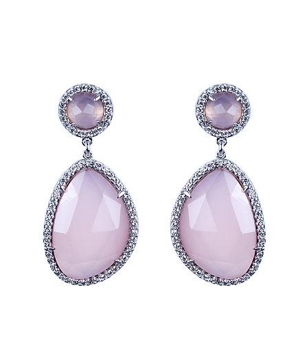 Bezel Set Rose Quartz Halo Earrings