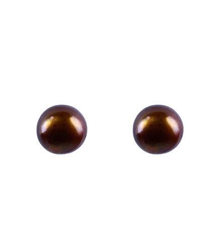 Cultivated Pearl Earrings - Copper Brown