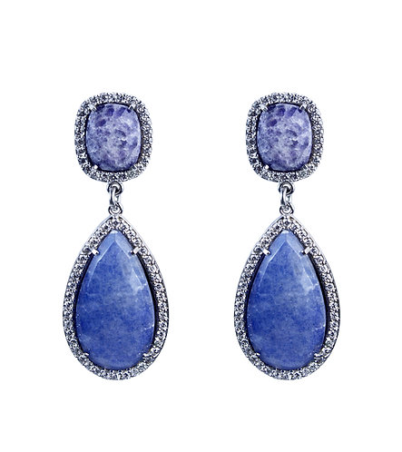Sodalite Halo Earrings
