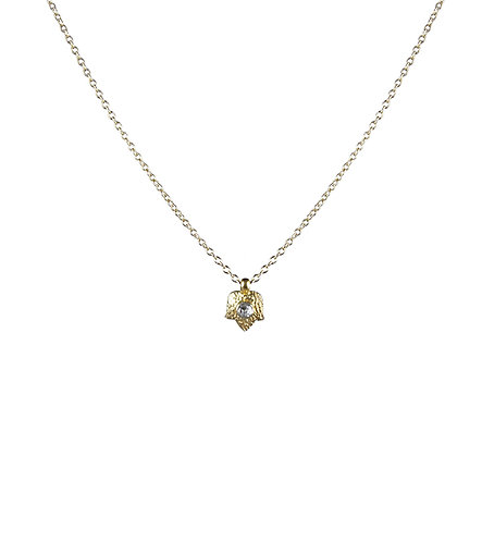 18K Gold Chain with Lotus Charm and Diamond