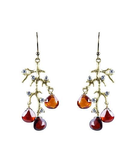 Jeweled Branch Earrings - Garnet