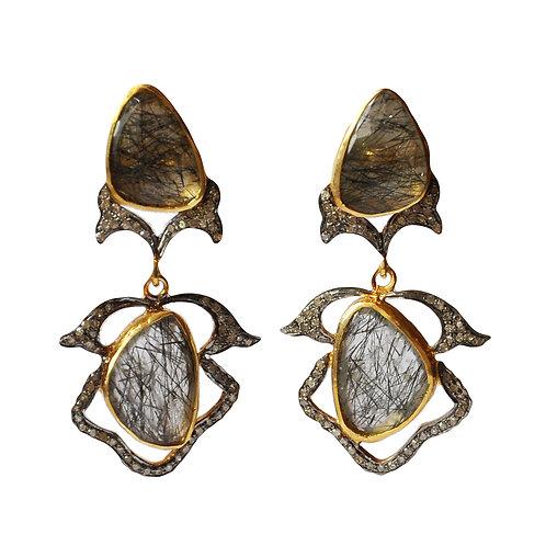 Diamond and Rutilated Quartz Ornamental Earrings