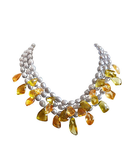 Cultivated Pearl and Fantasy Cut Gem Necklace