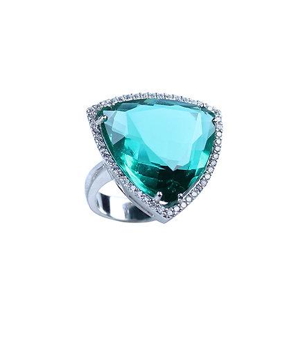Zeta Cocktail Ring - Emerald Green