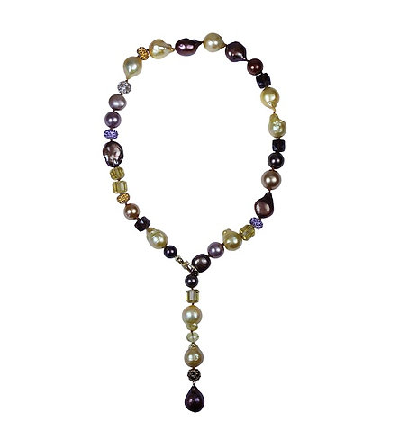 Gem, Pearl, Mother of Pearl, & Pave Necklace
