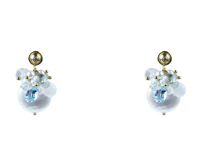 18k Precious Cluster Earrings