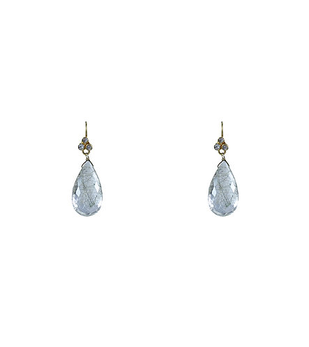 18k, Diamond & Rutilated Quartz Earrings