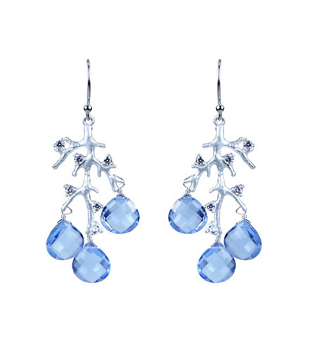 Jeweled Branch Earrings - Blue Quartz