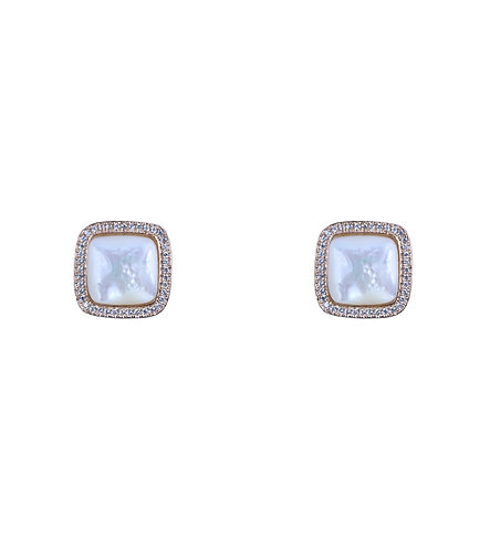 Mother of Pearl Button Earring