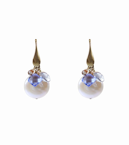 Coin Pearl Cluster Earrings