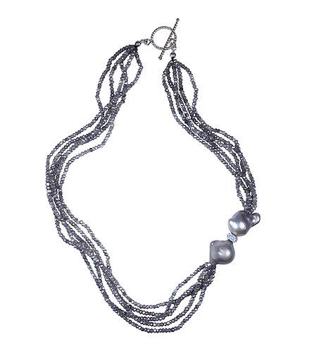 Labradorite multi strand featuring baroque pearls