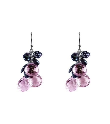 18K and Rose de France Cluster Earrings