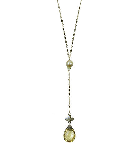 Golden Baroque Pearl with Faceted Citrine Pendant