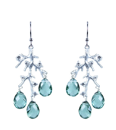 Jeweled Branch Earrings - Evergreen Quartz