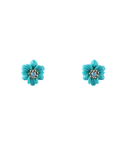 Wild Flower Earrings - Aqua