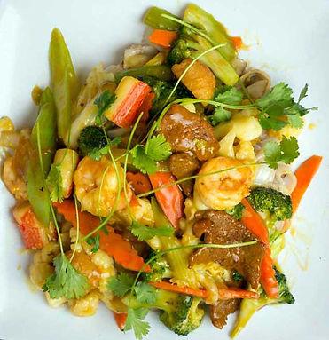 Vietnamese Food at Bolsa Vietnamese Restaurant Stir Fry Vegatables Beef Shrimp in San Diego