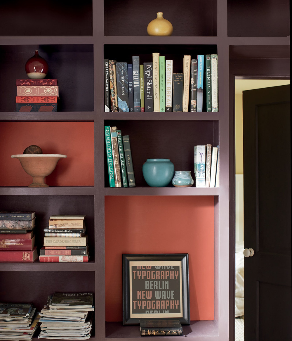 Rosy Peach and Amazon Soil bookcase by Benjamin Moore