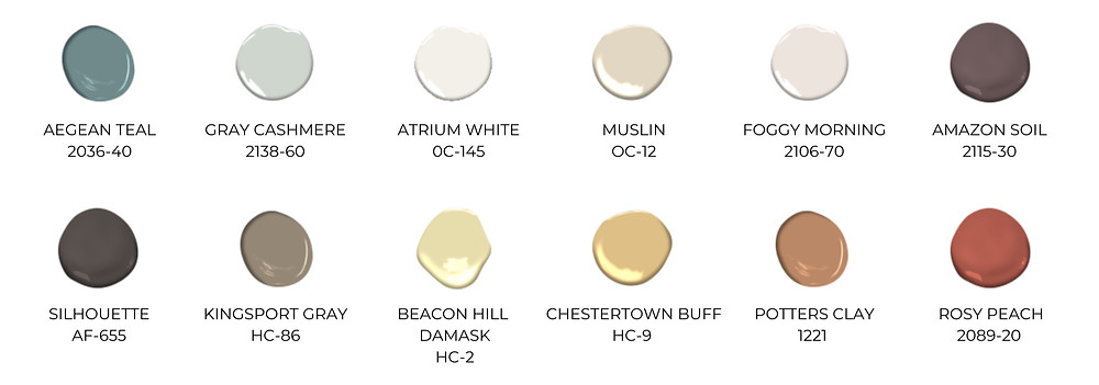 Benjamin Moore 2021 Color Trends Palette
