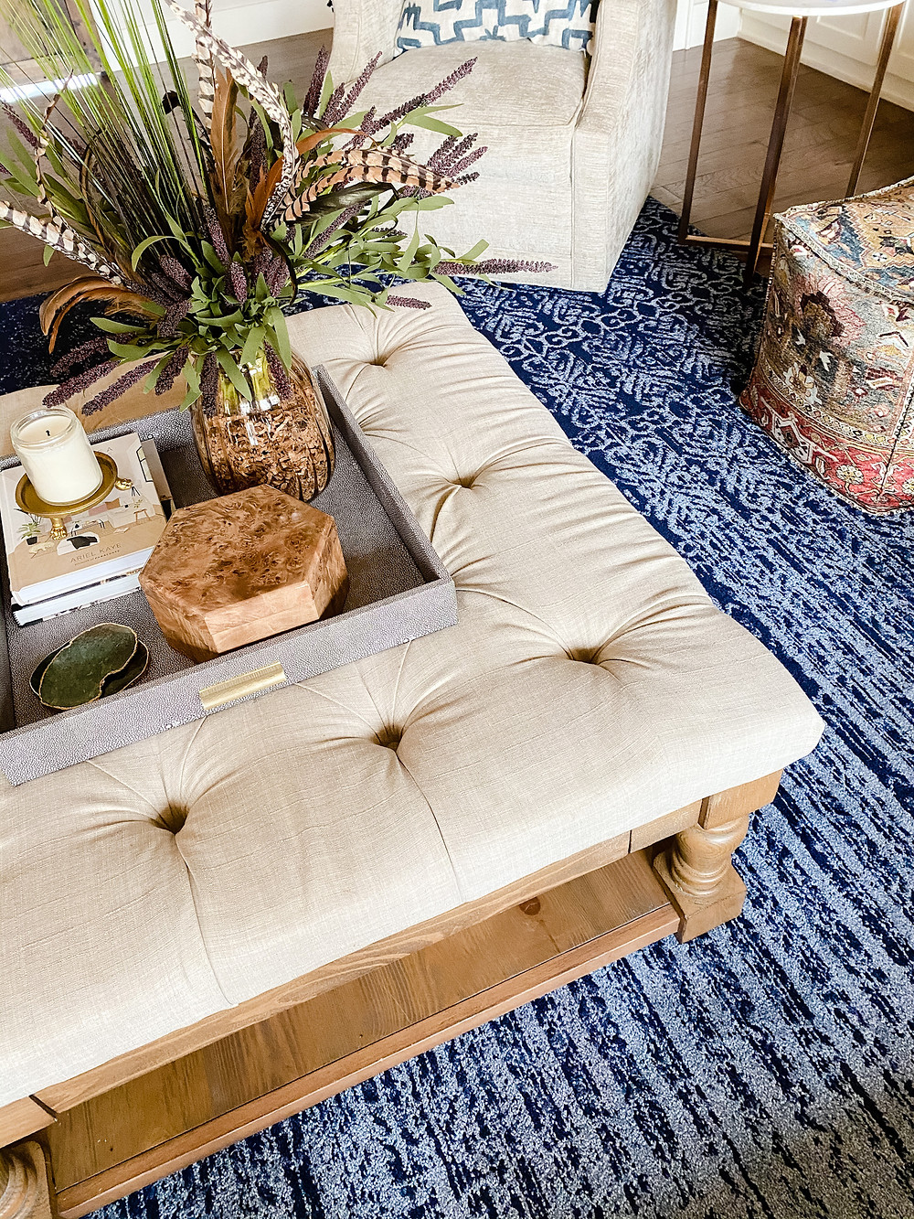 The Falls Classic Boho Family Room Coffee Table Styling