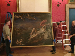 Titian's Europa being taken to the conservation lab ISGM