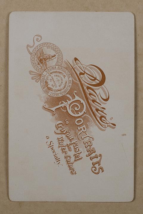 "back of ""cabinet card"" c. 1875"