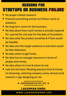 Reasons for Startup Business Failure by Lakshman Singh