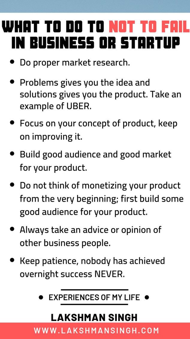 How not to fail in Startup Business by Lakshman Singh