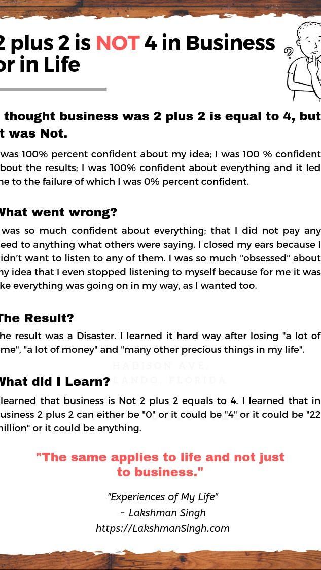 2 plus 2 is NOT 4 in Business by Lakshman Singh