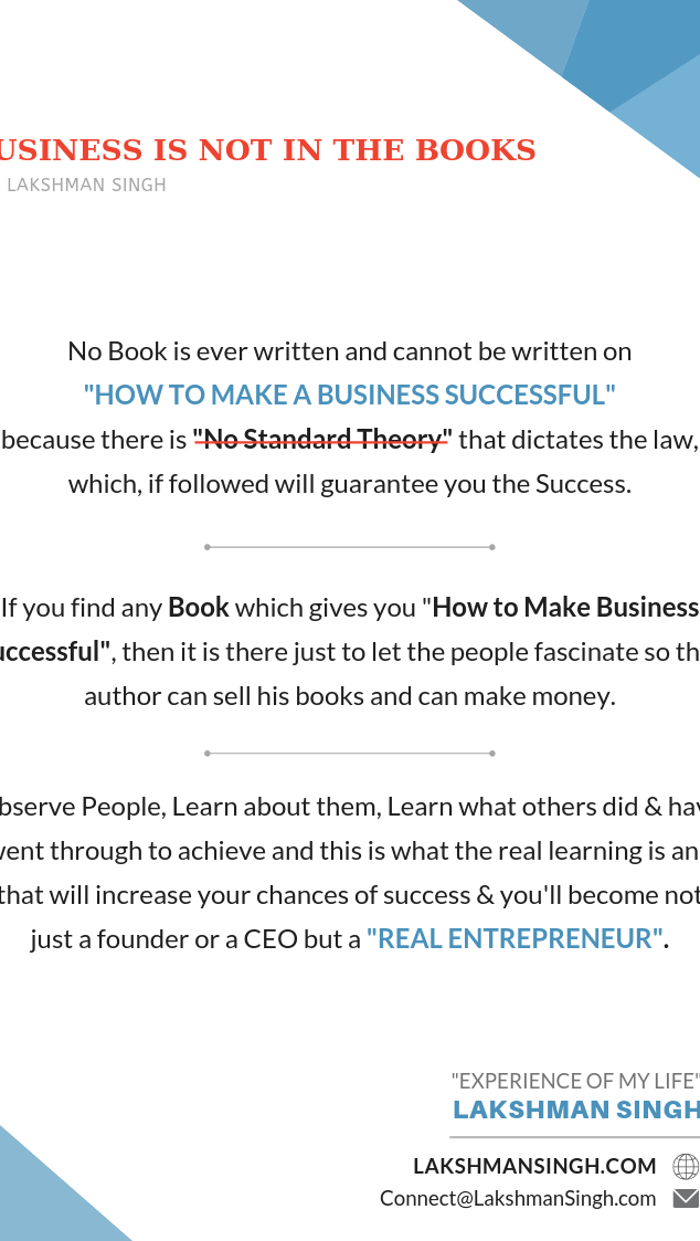 Business is not in the books by Lakshman Singh