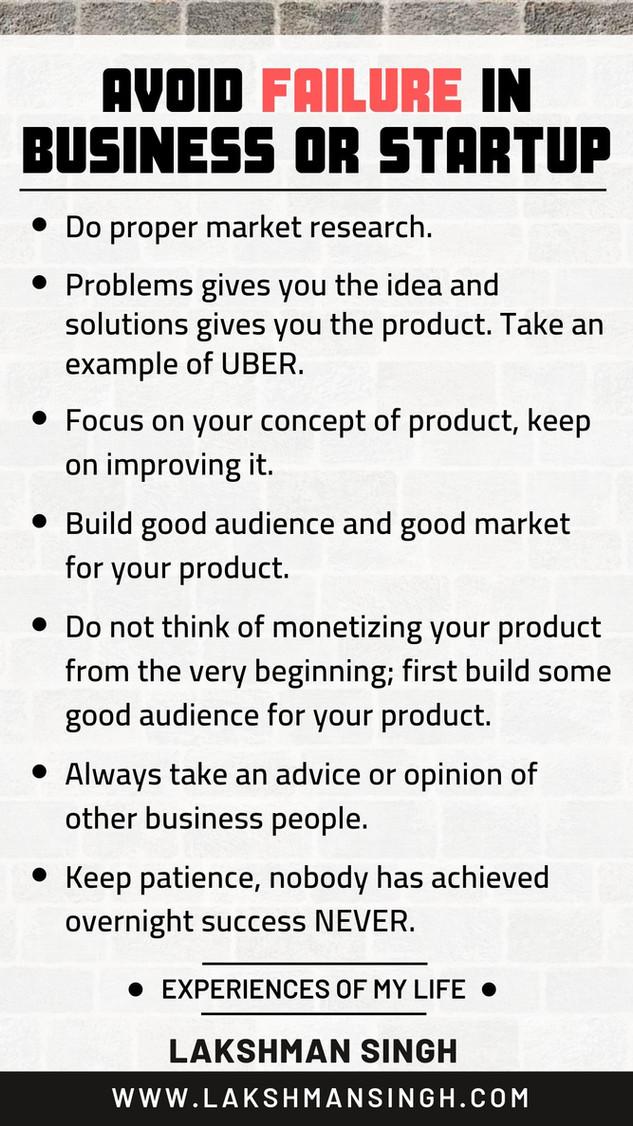 Avoid Failure in Startup Business by Lakshman Singh