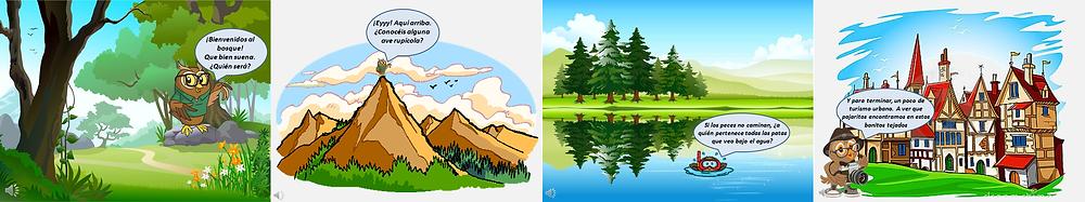 Los hábitats de las aves: bosque, montaña, humedal y urbano.