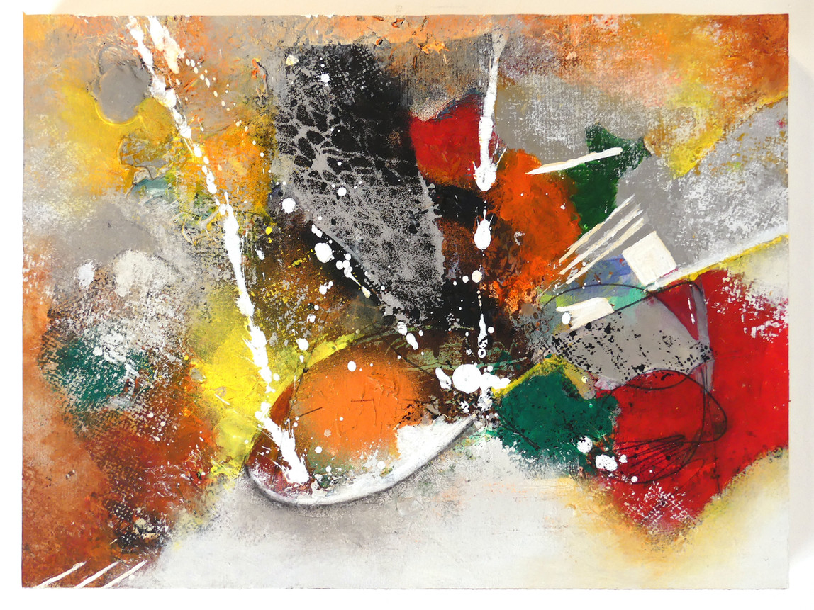 Joy comes in the morning (pieces numbered 1 to 3) Acrylic on canvas paper on cradle panels