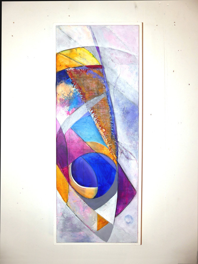 Demi Zemis in Purple & Pink (pieces numbered 1 to 3) Acrylic on primed cotton canvas 30 x 80 cmx