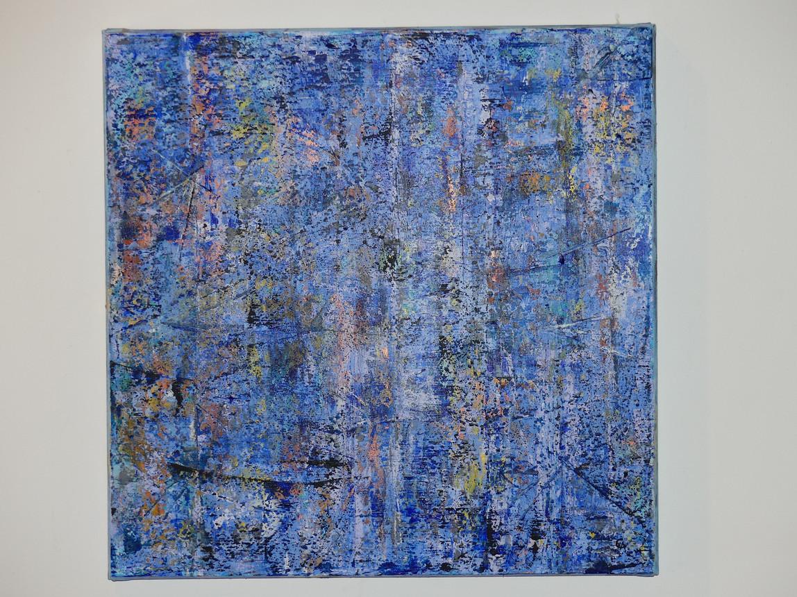 Rain Acrylic on primed cotton canvas 60 x 60 cms