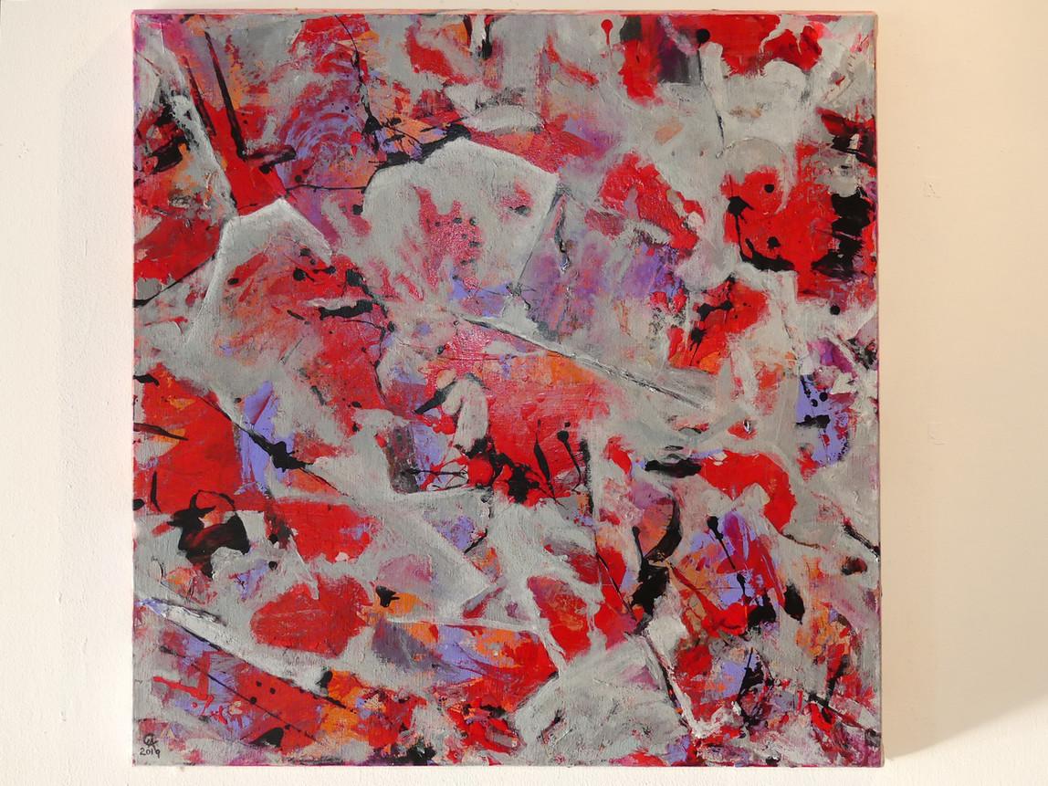 Thunder  Acrylic on primed cotton canvas 60 x 60 cms