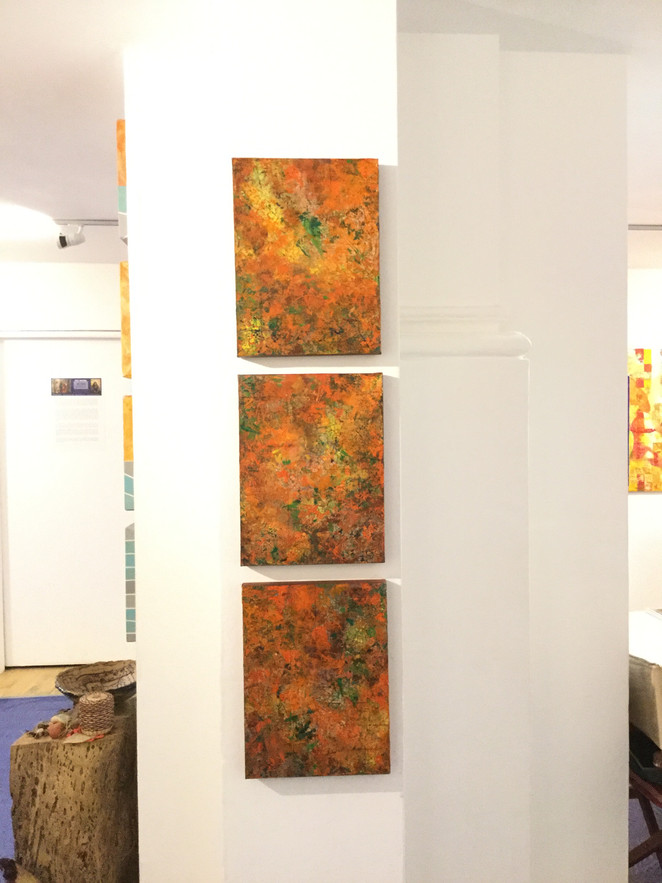 Creation Core. Acrylic mixed media and inks on canvas Triptych