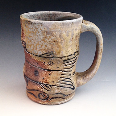 Brown Trout Swimming, Wood Fired Pottery Mug.