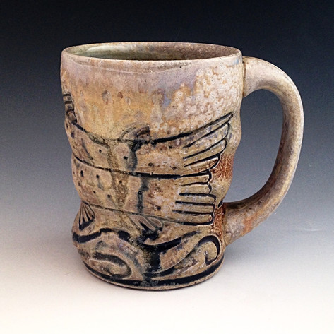 Wood Fired Pottery Mug with Swimming Rainbow Trout