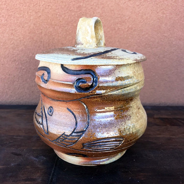 Wood Fired Salmon Fish Pottery Jar