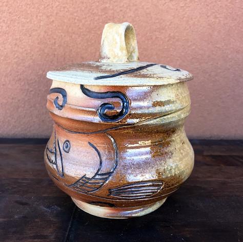 Wood Fired Salmon Fish Pottery Jar