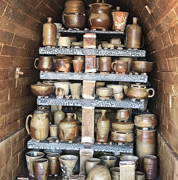 Manabigama wood kiln opening at Earthfired Pottery. Wood fired pottery.